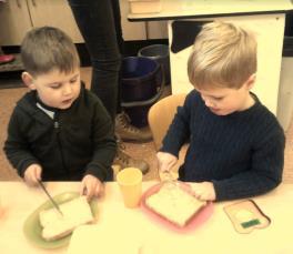 children making toast