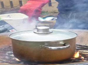 saucepan on campfire