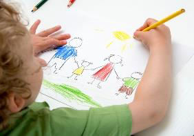 child drawing people