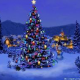 christmas tree in snowy village