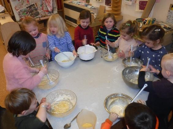 children mixing pancake batter