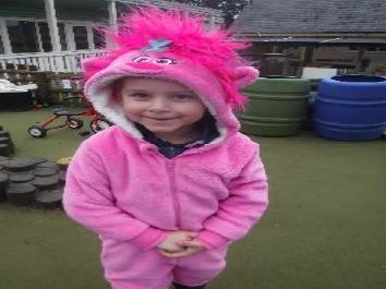 girl in pink onesie